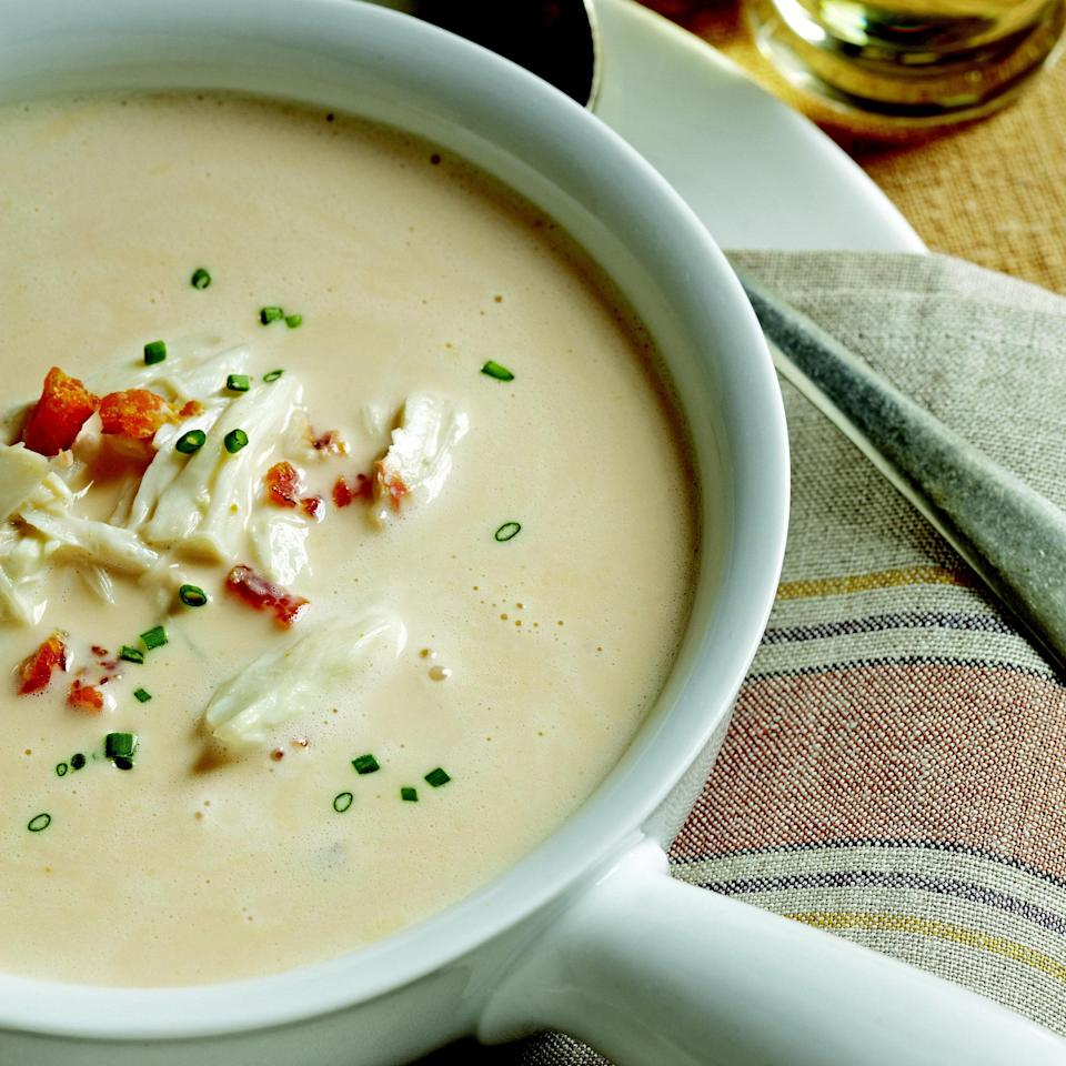 """An expertly made she-crab soup—a creamy, Sherry-kissed, Charleston, South Carolina staple—is a rare pleasure at home, and should be a part of every cook's repertoire. <a href=""""https://www.epicurious.com/recipes/food/views/she-crab-soup-51156820?mbid=synd_yahoo_rss"""" rel=""""nofollow noopener"""" target=""""_blank"""" data-ylk=""""slk:See recipe."""" class=""""link rapid-noclick-resp"""">See recipe.</a>"""