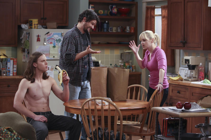 "This publicity image released by CBS shows, from left, Spencer Daniels, Matt Jones, and Anna Faris in a scene from ""Mom,"" premiering Monday, Sept. 23 at 9:30 p.m. EST. (AP Photo/CBS, Monty Brinton)"
