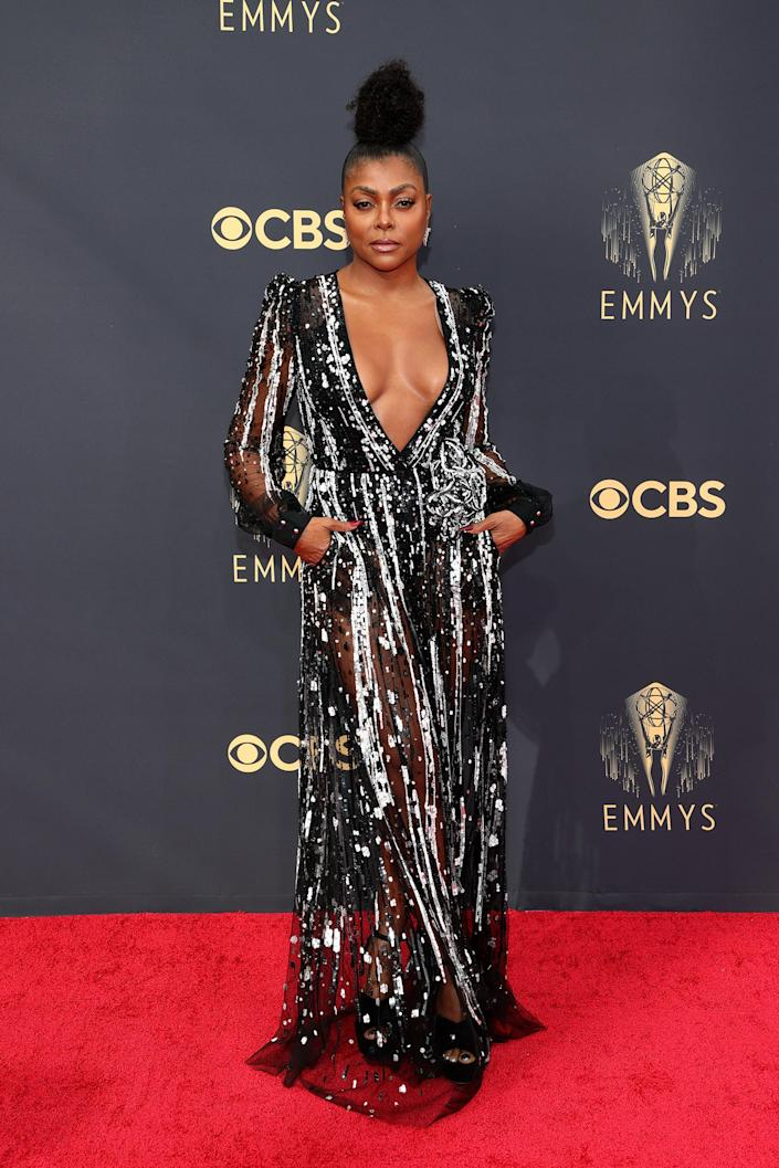 Taraji P. Henson Emmys red carpet 2021 (Rich Fury / Getty Images)