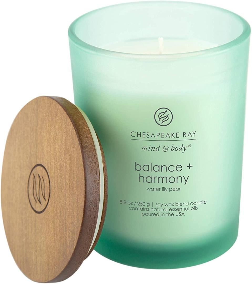 <p>The <span>Chesapeake Bay Candle Scented Candle, Balance + Harmony (Water Lily Pear)</span> ($12) will make your environment feel serene and refreshed.</p>