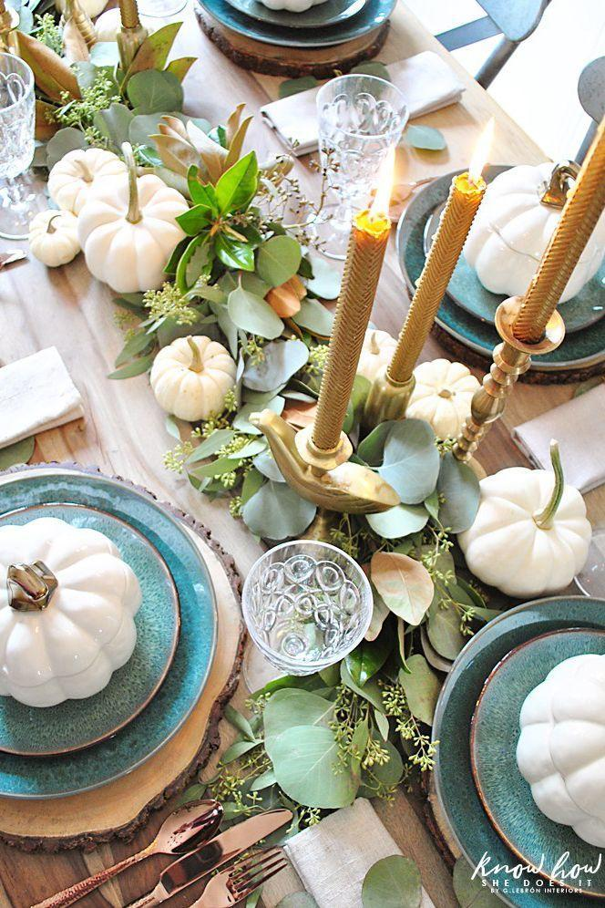 """<p>Make your table feel full and lush—without spending a ton of money—by starting with a big base of inexpensive leaves and greenery.</p><p><strong>Get the tutorial at </strong><a href=""""http://www.knowhowshedoesit.com/2017/10/20/natural-green-thanksgiving-table-setting/"""" rel=""""nofollow noopener"""" target=""""_blank"""" data-ylk=""""slk:Know How She Does It"""" class=""""link rapid-noclick-resp""""><strong>Know How She Does It</strong></a><strong>.</strong></p><p><a class=""""link rapid-noclick-resp"""" href=""""https://www.amazon.com/Mokosha-Dripless-Eco-Friendly-Romantic-Occasions/dp/B07SW81FT2/ref=sr_1_19?tag=syn-yahoo-20&ascsubtag=%5Bartid%7C10050.g.2130%5Bsrc%7Cyahoo-us"""" rel=""""nofollow noopener"""" target=""""_blank"""" data-ylk=""""slk:SHOP BEESWAX TAPER CANDLES""""><strong>SHOP BEESWAX TAPER CANDLES</strong></a></p>"""