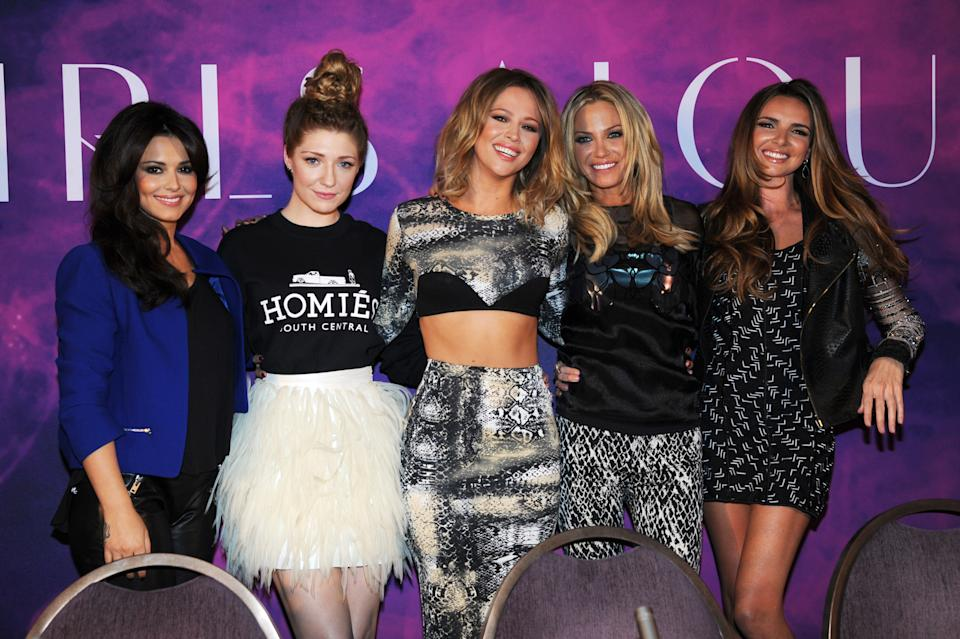 Cheryl Cole, Nicola Roberts, Kimberley Walsh, Sarah Harding and Nadine Coyle of Girls Aloud. (Photo by Dave J Hogan/Getty Images)