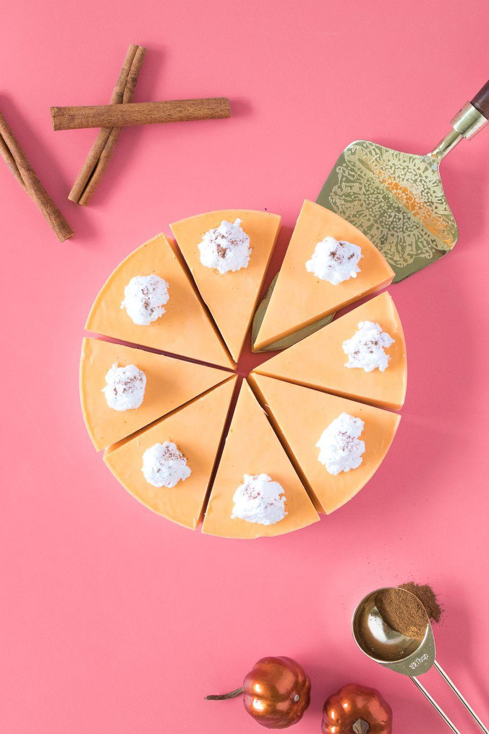 """<p>Although this shea butter creation looks and smells as good as the edible version, it'll leave a soapy aftertaste. In other words, don't eat it — just lather up with its pumpkin spice goodness. </p><p><em><a href=""""https://www.clubcrafted.com/diy-pumpkin-pie-soap/"""" rel=""""nofollow noopener"""" target=""""_blank"""" data-ylk=""""slk:Get the tutorial at Club Crafted »"""" class=""""link rapid-noclick-resp"""">Get the tutorial at Club Crafted »</a></em></p>"""