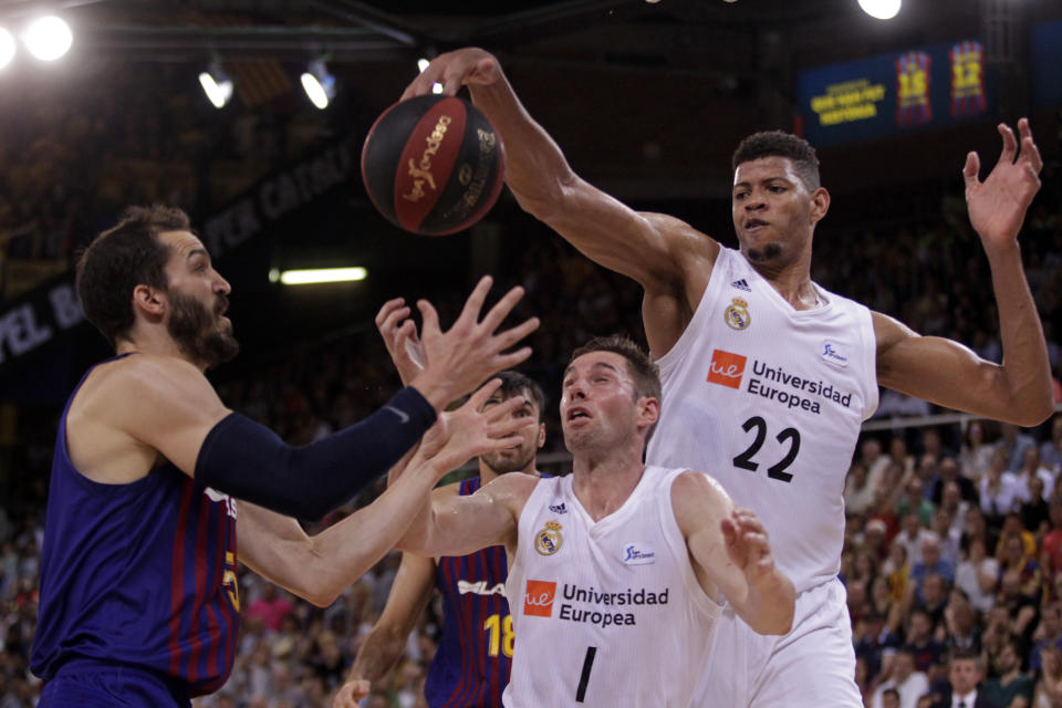 Walter Tavares, Fabien Causeur and Pau Ribas during the fourth match of the final play off of the spanish Liga Endesa league, played at the Palau Blaugrana, on 21th June 2019, in Barcelona, Spain.   -- (Photo by Urbanandsport/NurPhoto via Getty Images)