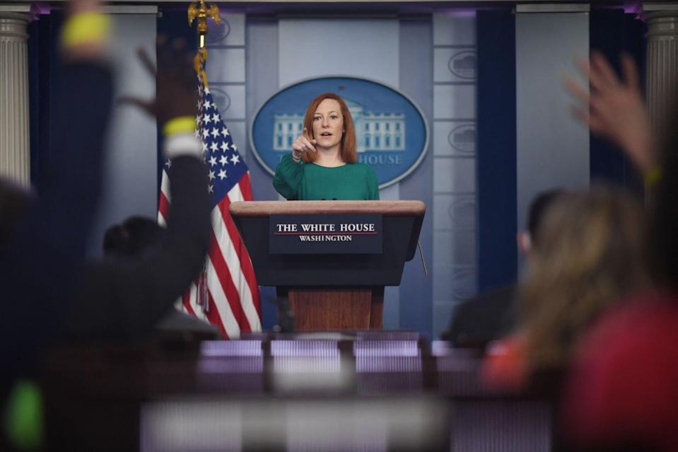 White House Press Secretary Jen Psaki answers questions as she speaks during the daily press briefing on March 15, 2021, in the Brady Briefing Room of the White House in Washington, DC. (Photo by Eric BARADAT / AFP) (Photo by ERIC BARADAT/AFP via Getty Images)