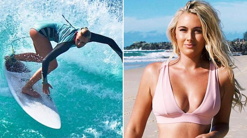 Ellie-Jean Coffey (pictured left) surfing and (pictured right) walking in her bikini.
