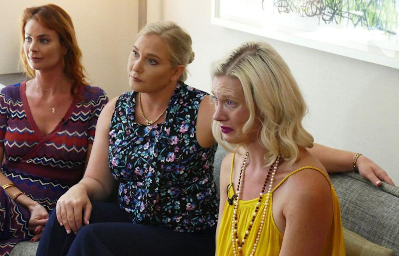 Epstein victims Sarah Ransome, Virginia Roberts Giuffre and Marijke Chartouni (from left) talk about their abuse during an interview in August 2019. (Photo: Miami Herald via Getty Images)