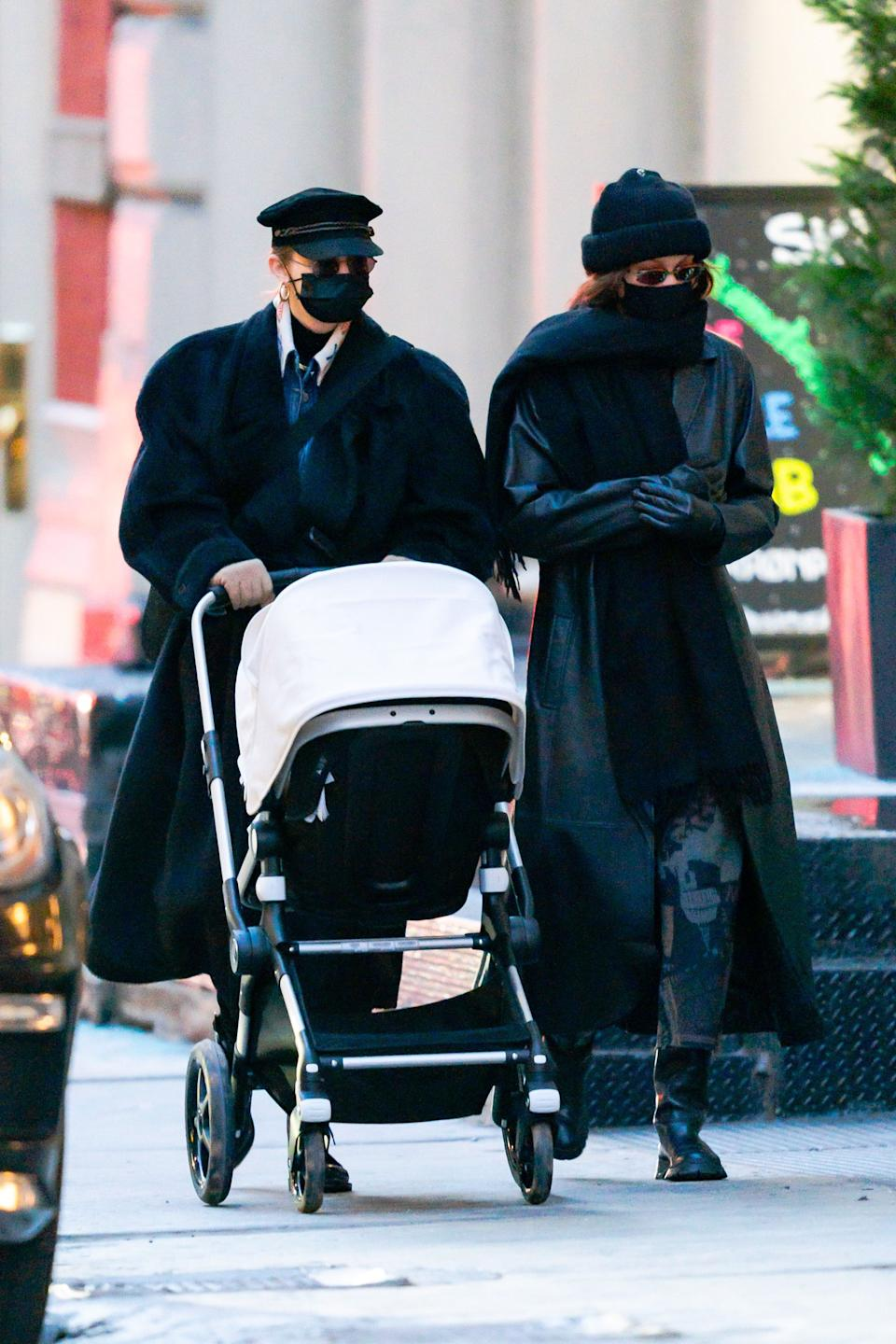 The model was pictured in December walking in New York with her older sister Gigi Hadid and her daughter Khai in a pram. (Getty Images)