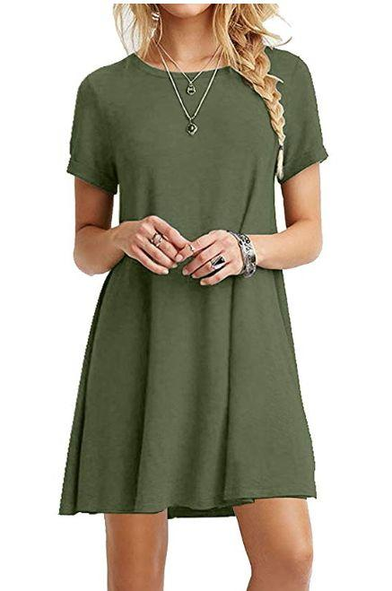 """This basic rayon t-shirt dress comes in sizes XS to XL and 23 colors and patterns. <strong><a href=""""https://amzn.to/2lyiFHM"""" target=""""_blank"""" rel=""""noopener noreferrer"""">Normally $28, get it on sale for $19 on Prime Day</a>.</strong>"""
