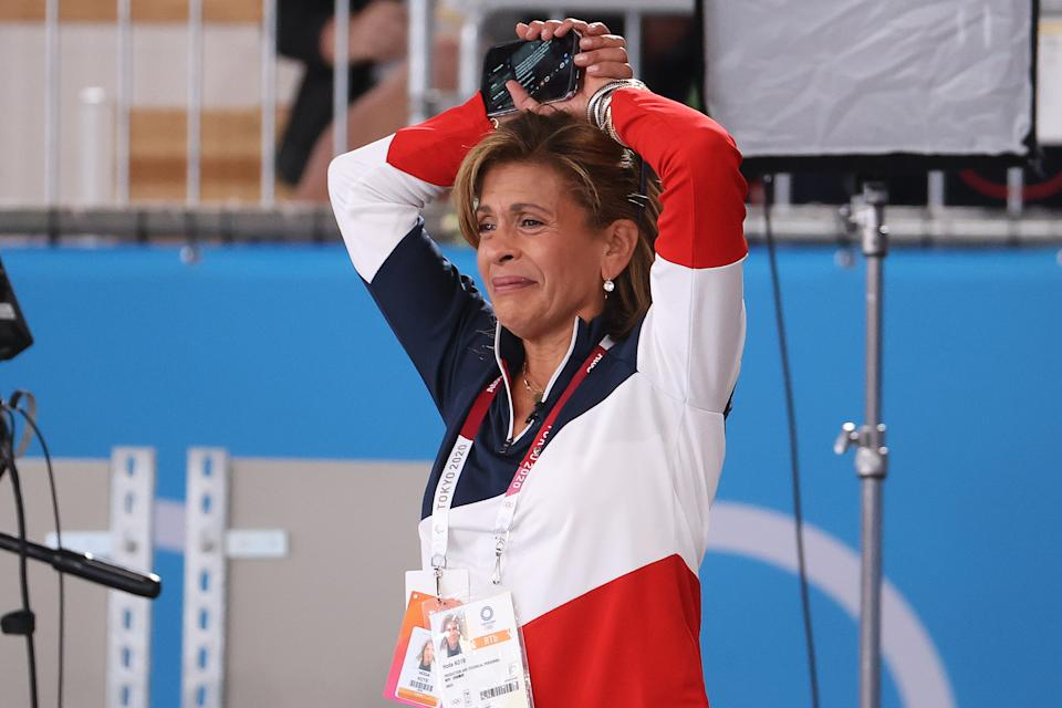 <p>TOKYO, JAPAN - JULY 27: Today Show Host Hoda Kotb yells support to Simone Biles after exiting the competition during the Women's team final on day four of the Tokyo 2020 Olympic Games at Ariake Gymnastics Centre on July 27, 2021 in Tokyo, Japan. (Photo by Abbie Parr/Getty Images)</p>