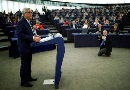 European Commission President Jean-Claude Juncker addresses the European Parliament during a debate on The State of the European Union in Strasbourg, France, September 13, 2017.  REUTERS/Christian Hartmann