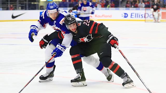 Dylan Cozens submitted another strong performance during Canada's 6-1 win against Slovakia at the World Juniors. (Peter Kovalev\TASS via Getty Images)