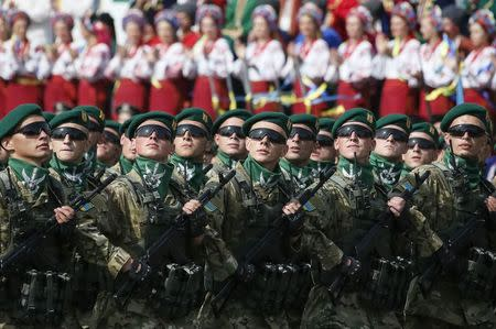 Border guards march during Ukraine's Independence Day military parade, in the centre of Kiev