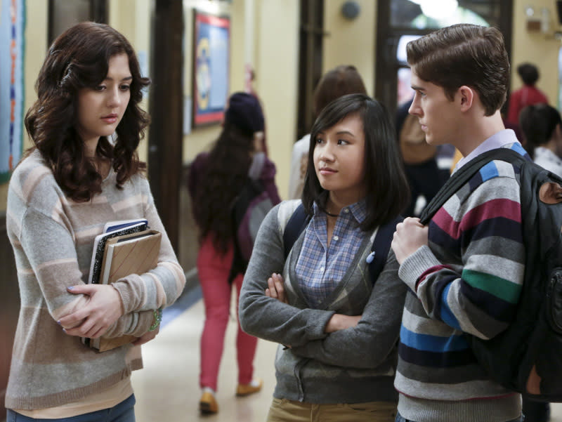 """Hush, Hush"" -- Katie Findlay as Maggie, Ellen Wong as Mouse, and Brendan Dooling as Walt"