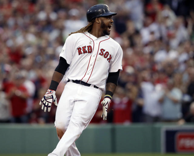 Hanley Ramirez shouts after hitting a two-run RBI double Sunday vs. the Astros. (AP)