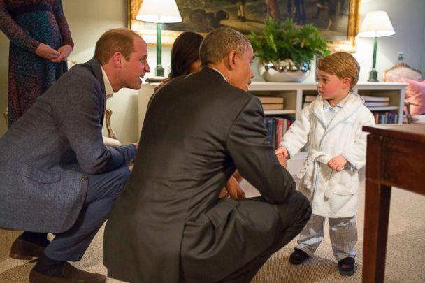 PHOTO: In this White House handout photo, President Barack Obama, Prince William, Duke of Cambridge and First Lady Michelle Obama talk with Prince George at Kensington Palace on April 22, 2016 in London. (Pete Souza/The White House via Getty Images)