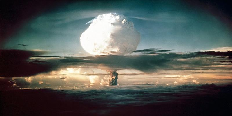 The mushroom cloud from Ivy Mike rises above the Pacific Ocean over Enewetak Atoll in the Marshall Islands, during the world's first test of a full scale thermonuclear device, on November 1, 1952.