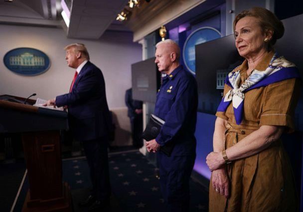 PHOTO: White House coronavirus response coordinator Deborah Birx listens to President Donald Trump speak to reporters at the White House on April 6, 2020, in Washington. (Chip Somodevilla/Getty Images)