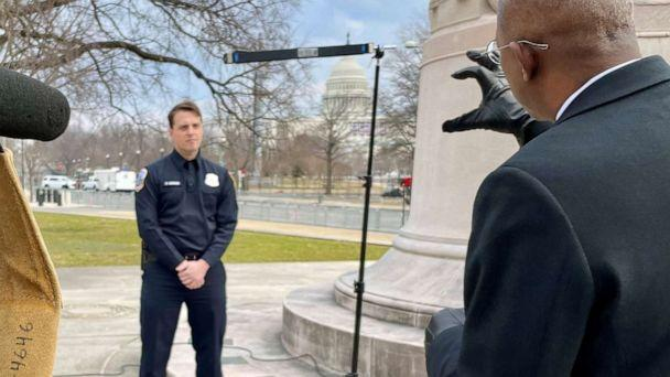 PHOTO: Metropolitan Police Department Office Daniel Hodges speaks with ABC News' Chief Justice Correspondent Pierre Thomas about his experience at the U.S. Capitol when a mob of President Trump supporters attempted to get in. (ABC News)
