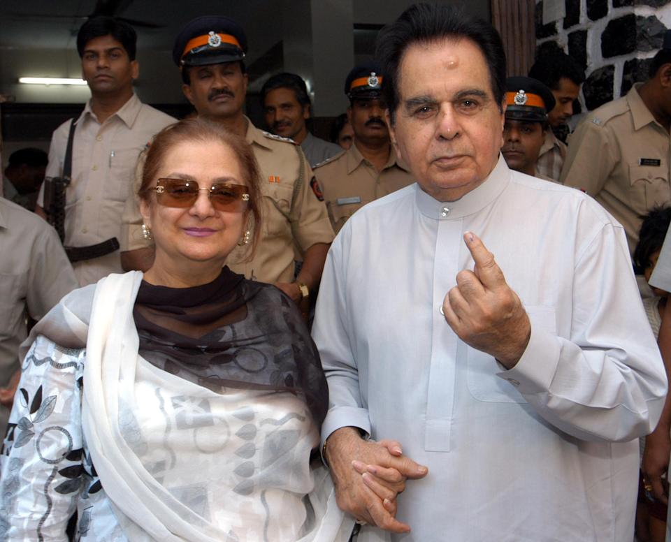 MUMBAI, INDIA November 19, 2005: Bollywood actor Dilip Kumar with his wife Saira Banu shows her marked finger after casting his vote at Bandra. (Photo by Hindustan Times via Getty Images)