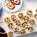 """<p><strong>Recipe: <a href=""""https://www.southernliving.com/recipes/mushroom-stuffed-phyllo-cups"""" rel=""""nofollow noopener"""" target=""""_blank"""" data-ylk=""""slk:Mushroom-Stuffed Phyllo Cups"""" class=""""link rapid-noclick-resp"""">Mushroom-Stuffed Phyllo Cups</a></strong></p> <p>If you can't find a gourmet fresh mushroom blend you can use any combination of mushrooms you can find as long as it equals 8 ounces. <strong><br></strong></p>"""