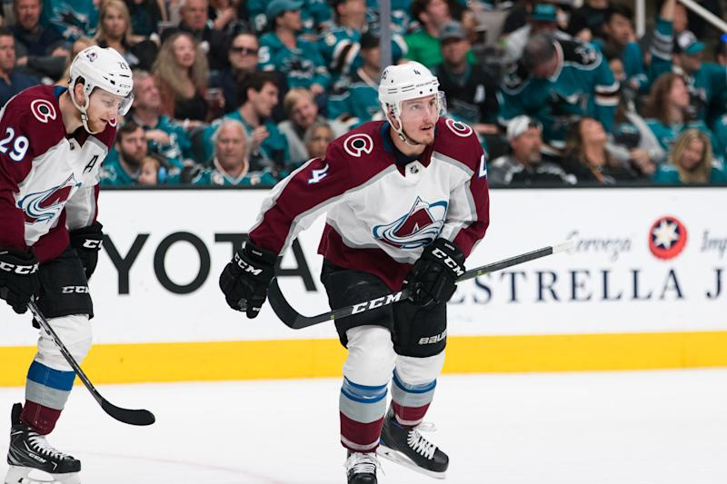 Apr 28, 2019; San Jose, CA, USA; Colorado Avalanche defenseman Tyson Barrie (4) celebrates scoring a goal against the San Jose Sharks in the second period of game two of the second round of the 2019 Stanley Cup Playoffs at SAP Center at San Jose. Mandatory Credit: John Hefti-USA TODAY Sports