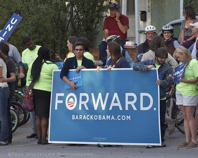 Obama supporters at the University of Denver, which hosted the first presidential debate. (Steve Hostetler)