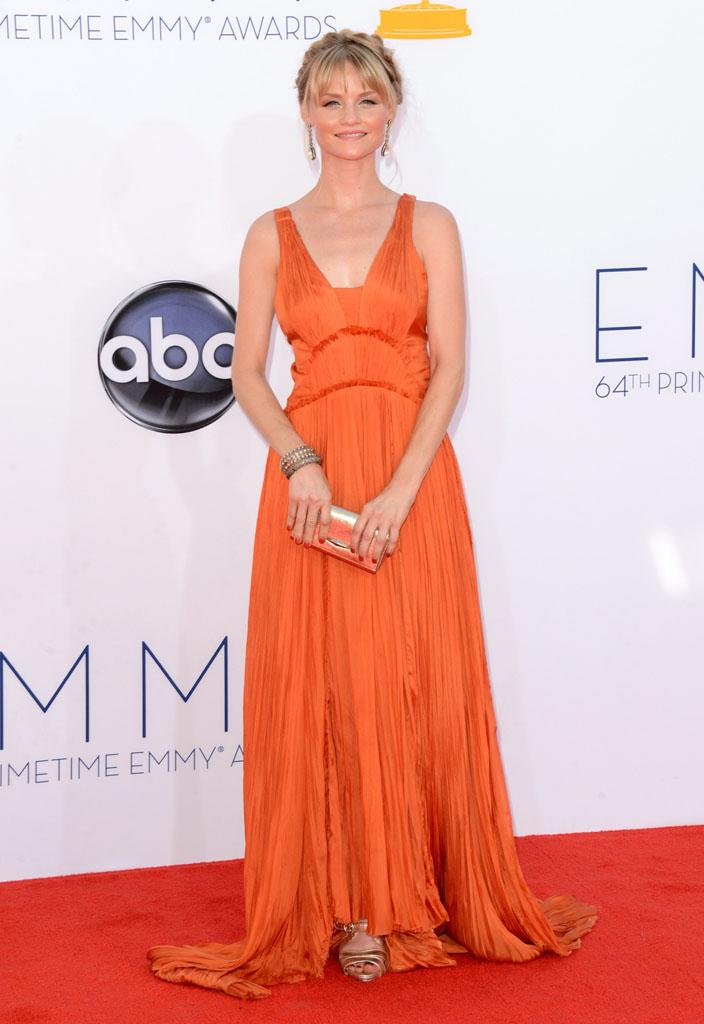 Lindsay Pulsipher arrives at the 64th Primetime Emmy Awards at the Nokia Theatre in Los Angeles on September 23, 2012.