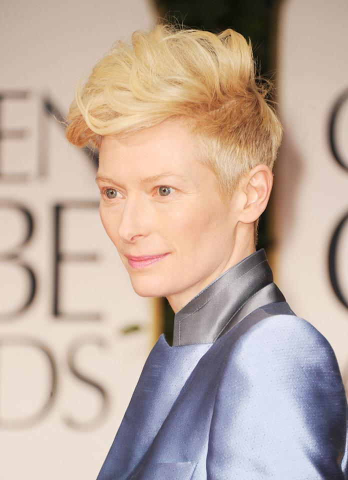 WORST: Tilda Swinton arrives at the 69th Annual Golden Globe Awards in Beverly Hills, California, on January 15.