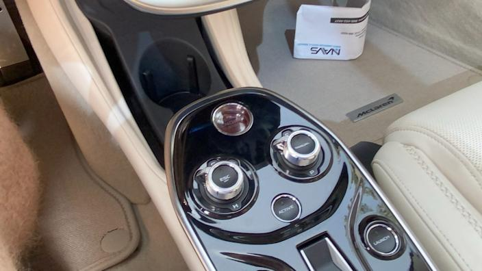 Controls for the 2020 McLaren GT's adjustable suspension and transmission.