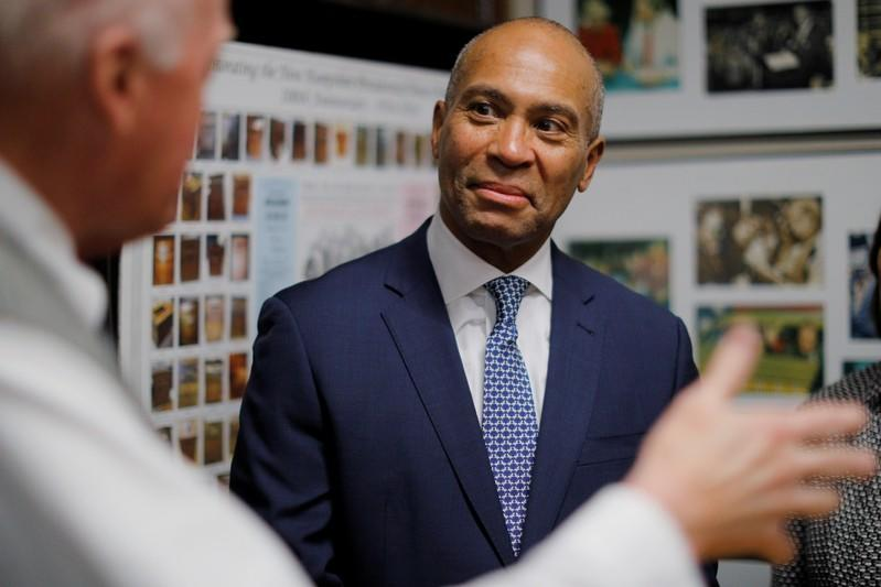 Democratic 2020 U.S. presidential candidate Patrick listens to New Hampshire Secretary of State Bill Gardner in Concord