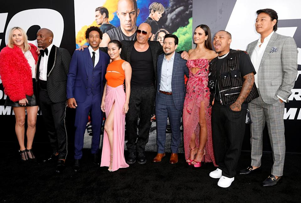 <p>Charlize Theron, Tyrese Gibson, Ludacris, Anna Sawai, Vin Diesel, Justin Lin, Jordana Brewster, Shad Moss, and Sung Kang attend the world premiere of <em>F9</em> in Hollywood.</p>