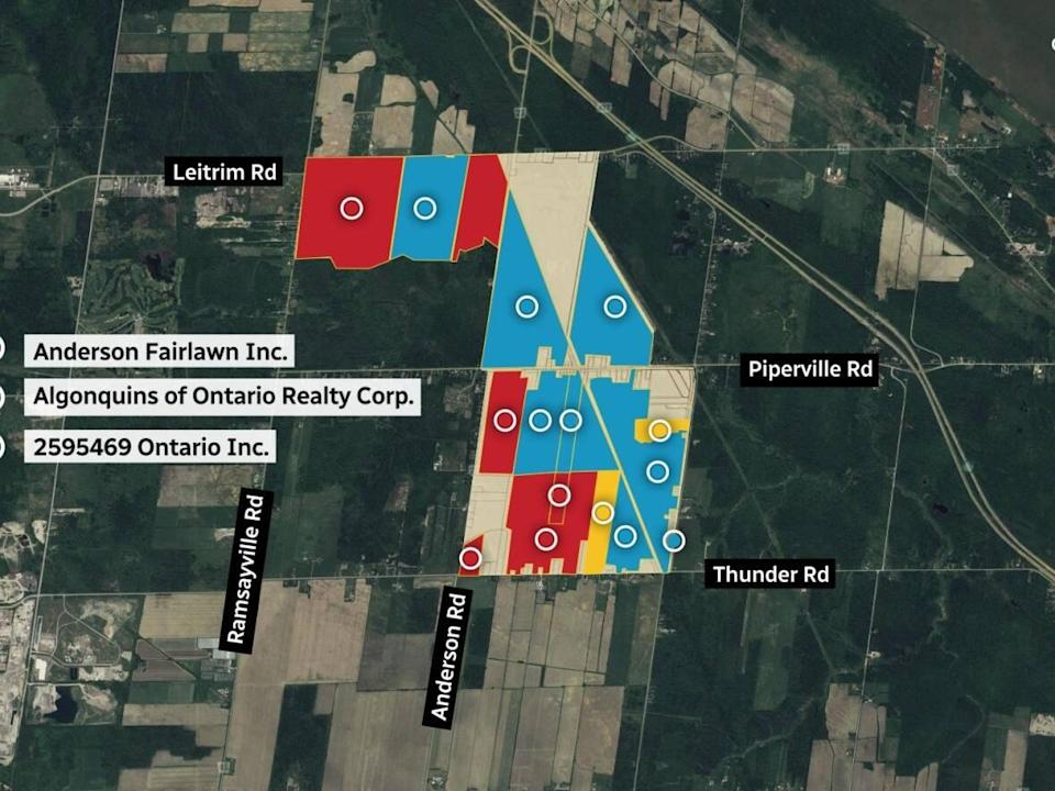 CBC News analyzed property records in the Tewin area and found the Taggart family owns ten of the land parcels involved in Ottawa's urban boundary expansion, under two corporate names. The Algonquins of Ontario own four, plus portions of a larger fifth parcel. (CBC - image credit)