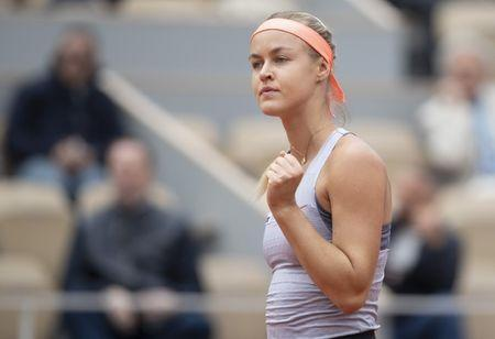 May 28, 2019; Paris, Anna Schmiedlova (SVK) reacts during her match against Naomi Osaka (JPN) on day three of the 2019 French Open at Stade Roland Garros. Mandatory Credit: Susan Mullane-USA TODAY Sports