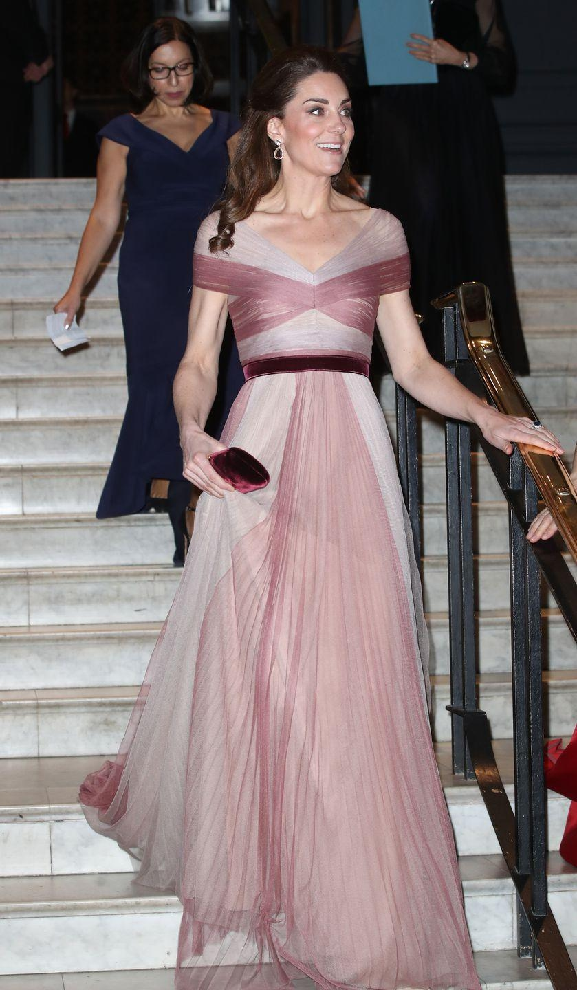 <p>Catherine, Duchess of Cambridge, chose a floaty pink gown for a gala dinner at the Victoria and Albert Museum in 2019.</p>