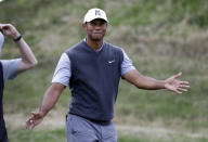 Tiger Woods responds to the gallery after winning his round-robin match against Patrick Cantlay at the Dell Technologies Match Play Championship golf tournament, Friday, March 29, 2019, in Austin, Texas. (AP Photo/Eric Gay)