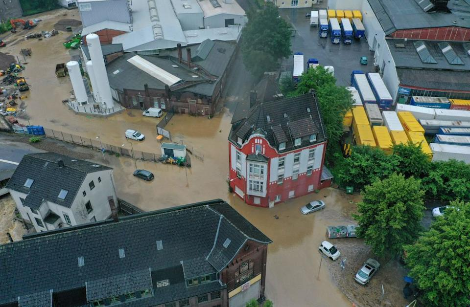 An aerial view shows the flooded center of the city of Hagen, western Germany flooding.