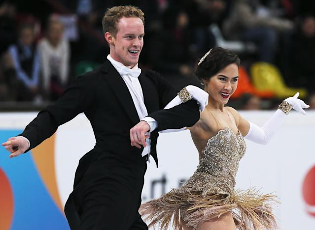 MOSCOW, RUSSIA - NOVEMBER 22: Madison Chock and Evan Bates of USA skates in the Ice Dance Short Dance during ISU Rostelecom Cup of Figure Skating 2013 on November 22, 2013 in Moscow, Russia. Photo by Oleg Nikishin/ Getty Images)