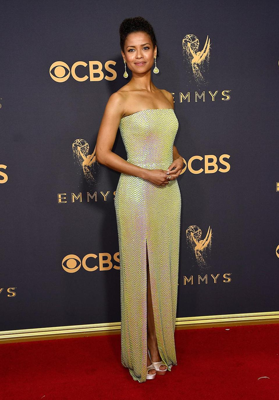 <p>Gugu Mbatha-Raw attends the 69th Annual Primetime Emmy Awards at Microsoft Theater on September 17, 2017 in Los Angeles, California. (Photo by Frazer Harrison/Getty Images) </p>