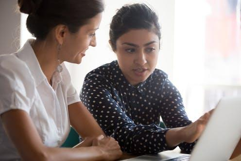 """<span class=""""caption"""">Learning the ropes.</span> <span class=""""attribution""""><a class=""""link rapid-noclick-resp"""" href=""""https://www.shutterstock.com/image-photo/diverse-businesswomen-discuss-analyse-online-project-1477361711"""" rel=""""nofollow noopener"""" target=""""_blank"""" data-ylk=""""slk:fizkes/Shutterstock"""">fizkes/Shutterstock</a></span>"""
