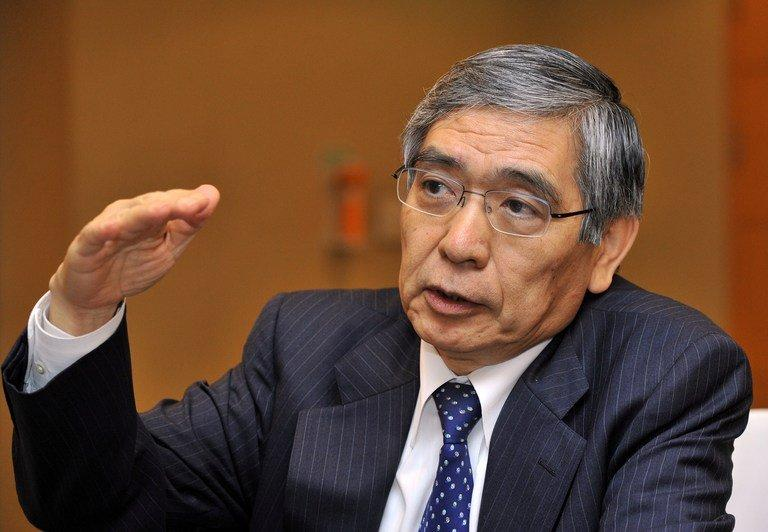 "The Bank of Japan's new governor Haruhiko Kuroda (pictured in 2011) on Thursday pledged ""all-out efforts"" to rid Japan of growth-sapping deflation as gloomy new trade data underlined the scale of the task ahead"