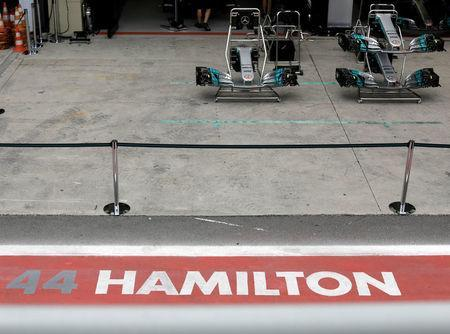 The name of Mercedes' Lewis Hamilton of Britain is painted in front of the team garage at Interlagos circuit in Sao Paulo, Brazil November 9, 2017. REUTERS/Paulo Whitaker