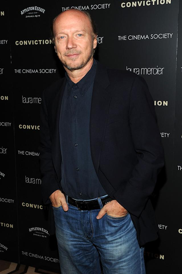 """<a href=""""http://movies.yahoo.com/movie/contributor/1800232257"""">Paul Haggis</a> at the New York Cinema Society screening of <a href=""""http://movies.yahoo.com/movie/1810071450/info"""">Conviction</a> on October 12, 2010."""