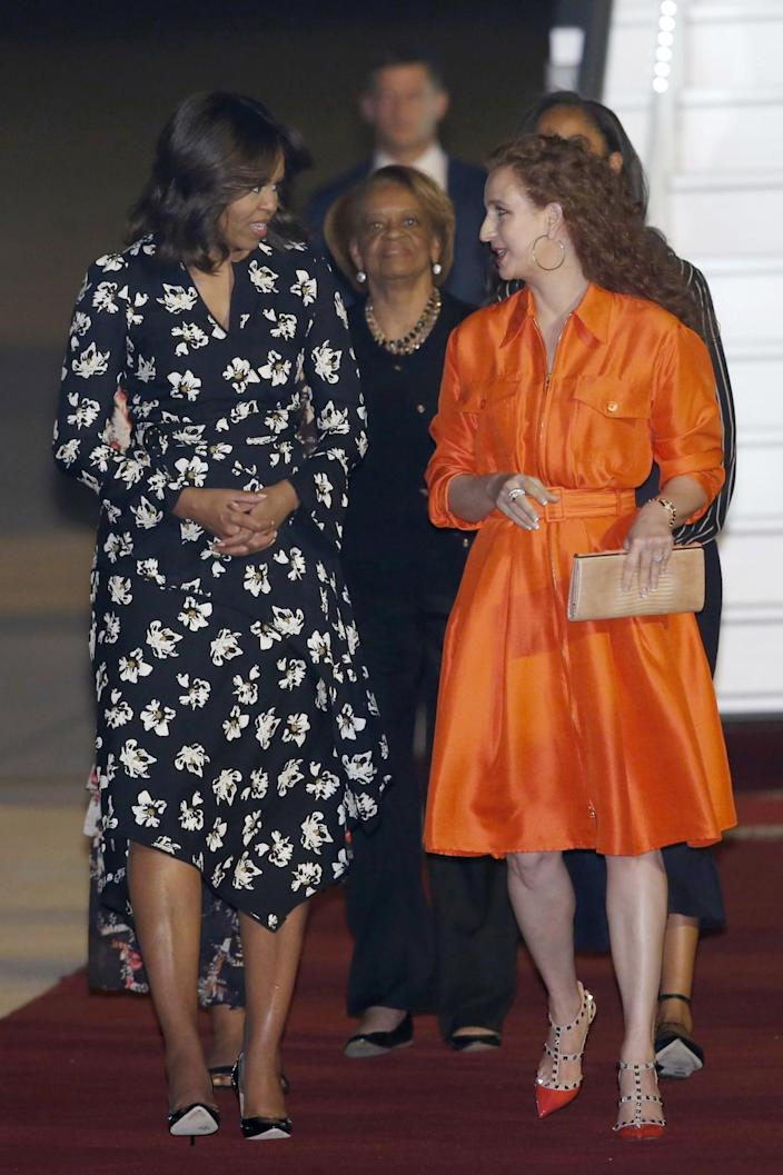 <p>Moroccan King Mohammed VI's wife, Princess Lalla Salma, right, welcomes U.S. first lady Michelle Obama, left, and her mother at Menara Airport in Marrakech, Morocco, Monday, June 27, 2016. (AP Photo/ Abdeljalil Bounhar) </p>