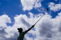 Tony Finau gestues after a tee shot on the sixth hole in the final round at The Northern Trust golf tournament at Liberty National Golf Course Monday, Aug. 23, 2021, in Jersey City, N.J. (AP Photo/John Minchillo)