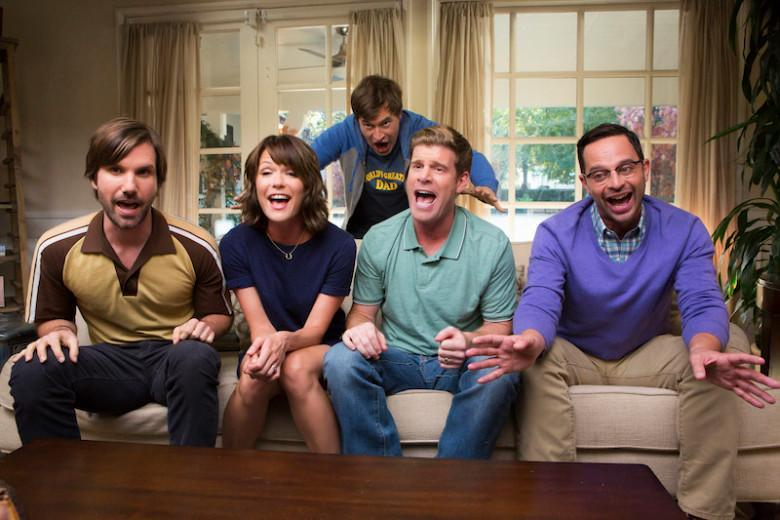 (L-R) Jonathan Lajoie as Taco, Katie Aselton as Jenny, Mark Duplass as Pete, Stephen Rannazzisi as Kevin, Nick Kroll as Ruxin in The League