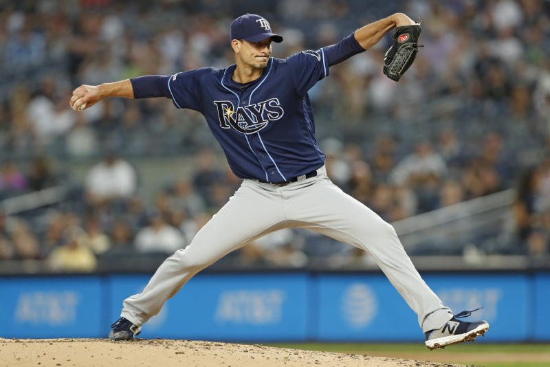 Tampa Bay Rays starting pitcher Charlie Morton winds up during the first inning of the second game of the baseball team's doubleheader against the New York Yankees on Thursday, July 18, 2019, in New York. (AP Photo/Kathy Willens)