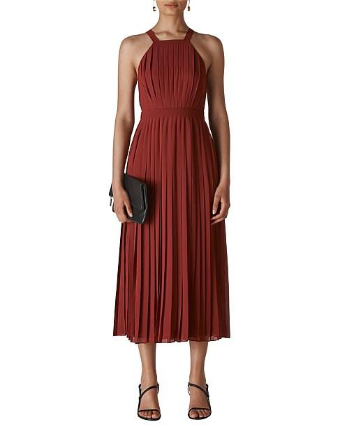 Whistles red pleated midi maxi cocktail Christmas summer party dress