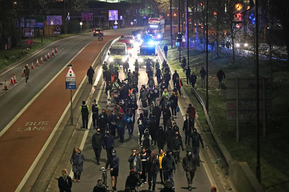 Demonstrators walk along the A4032 which leads to the M32 in Bristol during a 'Kill The Bill' protest against The Police, Crime, Sentencing and Courts Bill. Picture date: Saturday April 3, 2021.