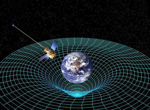Einstein's theory of general relativity predicts that massive objects warp the space-time around them. NASA's Gravity Probe B found that the space-time around Earth is indeed curved by our planet, and twisted by its rotation.